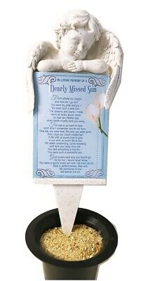 Grave Card Son Graveside Plaque Holder Stake Ornament Statue Angel Memorial Set