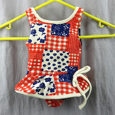 Vintage Kmart Floral And Plaid Baby Swimsuit With Skirt 4 Months Red White Blue
