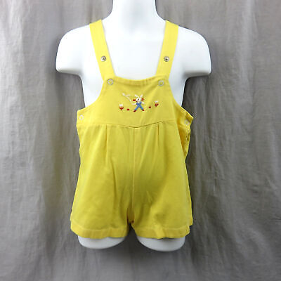 Vintage Overall Shorts Baby 24 Months Embroidered Bunny And Flowers Jumper