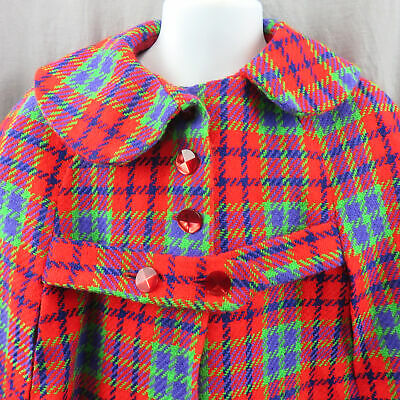 Vintage Handmade Toddler Plaid Dress And Matching Peter Pan Collar Cape Wrap 4T