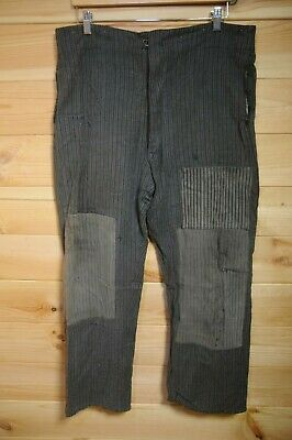 "Vintage Antique French Trousers Workwear 36"" Patched Repaired Grey"
