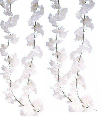 Flower Garland Artificial Blossom Wedding 2Pk White Hanging Vine Decor Wall Home