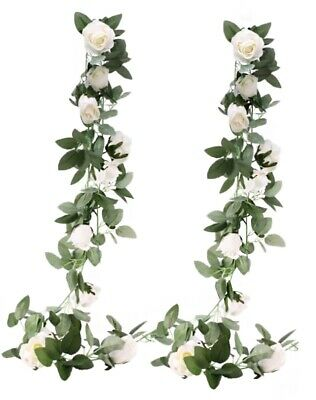 Rose Garland Artficial Flower Wedding 2Pk White Hanging Vine Decor Ivy Home Wall