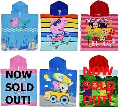 Boys Girls Kids Hooded Towel Poncho 100% Cotton Official Character Beach Bath