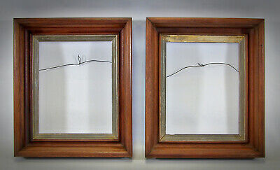 Antique Early Victorian Deep Shadow Box Walnut Picture Frame Matching 2pc Set