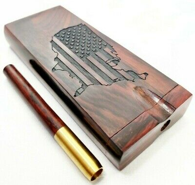 AMERICAN FLAG Rosewood Dugout Stash Box with Brass One Hitter Pipe with Rosewood