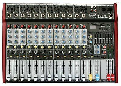 E-Lektron PW-1220 Live Power-Mixer 12-Kanal stereo MP3 & AUX Mischpult Endstufe
