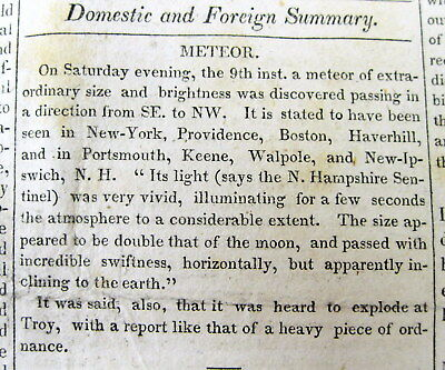 1822 newspaper with Report of UFO / FLYING SAUCER / METEOR seen over NEW ENGLAND