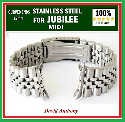 17mm MIDI fits JUBILEE STYLE LINK, WATCH BRACELET.  CURVED ENDS - GOOD QUALITY!