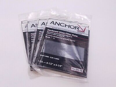 "4 Pcs Anchor FS-5H-13 Filter Plate Hardened Glass 4-1/2"" x 5-1/4"" Shade 13 NOS"