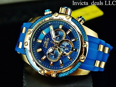 Invicta Men's 50mm Speedway Scuba Chronograph Sapphire Blue Gold Tone SS Watch