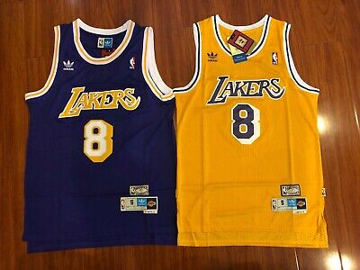 #8 Yellow and Purple Men's Kobe Bryant Los Angeles Lakers Vintage HWC Jersey NWT