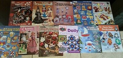 11 Assorted Plastic Canvas Pattern Book Lot