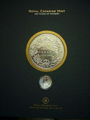 Royal Canadian Mint Centennial Book Plus Proof Silver 50 Cent Canada's 1st Coin!