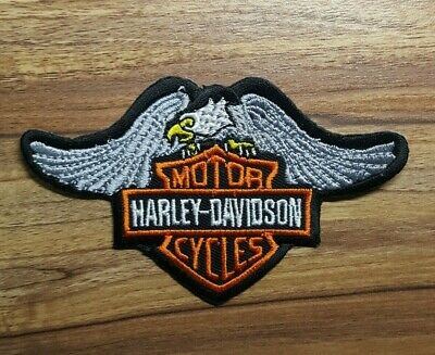 New Harley Davidson  Silver Wing Eagle Embroidered applique iron on Patch