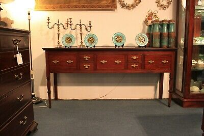 19th CENTURY ENGLISH WALNUT SIDE OR SOFA TABLE WITH SEVEN DRAWERS. BRASS HANDLES