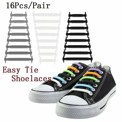 Easy No Tie Rubber Shoe Laces Colored Shoe Laces Trainers Snickers Kids Adults