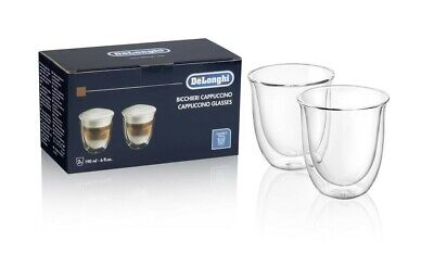 DELONGHI 2 CUPS DOUBLE WALL THERMAL GLASS BOROSILICATE CAPPUCCINO 190ml