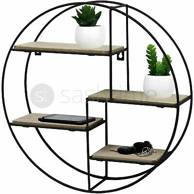 4 Tier Round Floating Wall Hanging Shelf Display Storage Shelve Decorative Rack