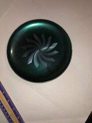 OLDEN NORWAY Retro 1960's Green Brushed Starburst Anodized Aluminum Plate