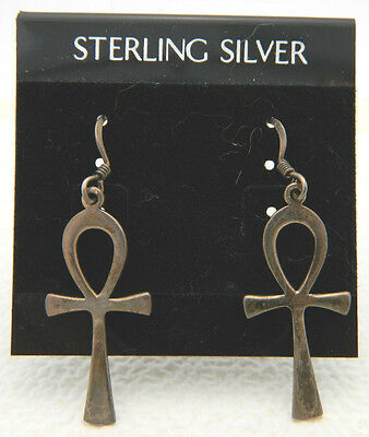 New Old Stock Sterling Silver Egyptian Ankh Dangle Earrings