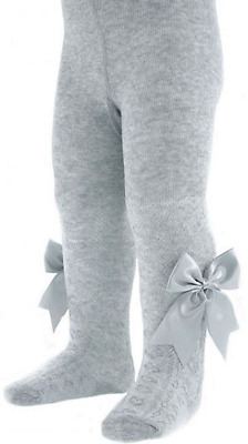 GIRLS BABY BOW TIGHTS SPANISH STYLE SATIN BOWS SOFT QUALITY DESIGNER BRAND 0-3 Y