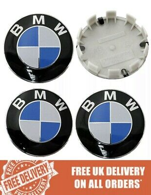 4 x BMW Alloy Wheel Centre Caps 68MM Blue - Fits E90 E46 E34 Z4 1 3 5 7 Series