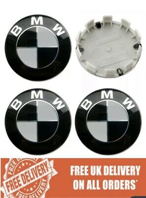 4 x BMW Alloy Wheel Centre Caps 68MM Black - Fits E90 E46 E34 Z4 1 3 5 7 Series