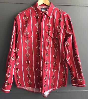 Wrangler Men's Western Red Shirt, Size L, Excellent condition, Fast shipping