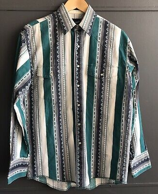 Wrangler Men's Green Western Shirt, Size M, Great condition, Fast Shipping