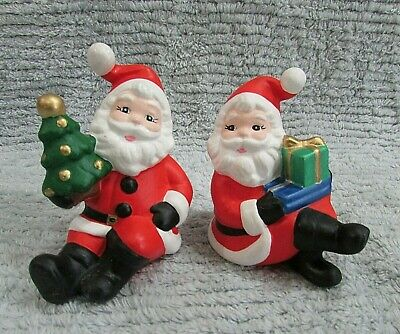 "Two Sitting Santa Claus Vintage 1990's Hand Painted Ceramic 4"" Figurines FREE SH"