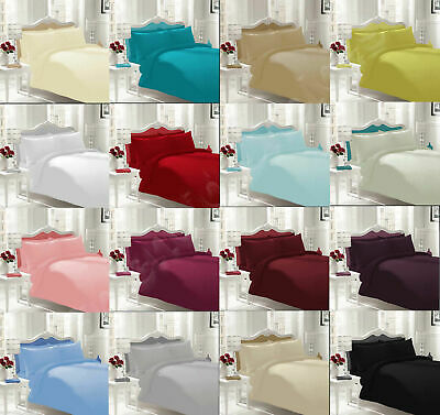 Non Iron Percale Plain Dyed 180 T Flat Bed Sheet Cotton Solid Colours All Sizes