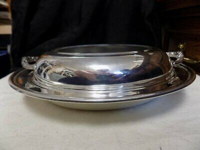 Vintage Silver Plated Lidded Serving Dish~Sheridan~Divided Glass Insert