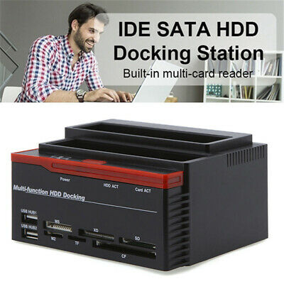 External Two SATA IDE HDD Docking Station 2.5''/3.5''Hard Drive Card Reade US