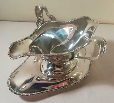 An Elegant Antique Double Lipped Silver Sauce Boat & Stand : Chester 1908