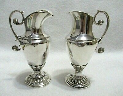 Old Church Altar Pair Handmade Silverplate Water Wine Jars Pitchers Jugs 5""
