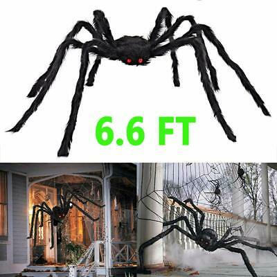 6.6FT Plush Giant Spider Decoration Halloween Haunted House Garden Props Party