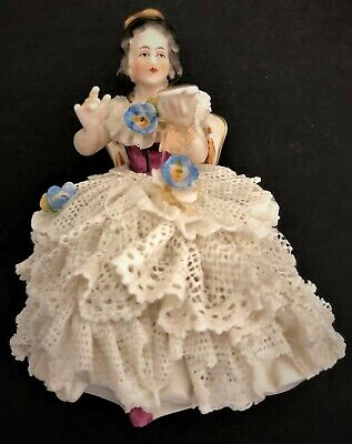 Antique Dresden Lace Porcelain Figurine Of Woman In A White Dress In A Chair