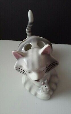 ViNTaGe Ceramic CAT TOOTHBRUSH HOLDER - KITSCH Nodder Tail w mouse