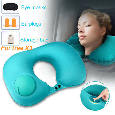 Inflatable U Shaped Pillow Neck Car Head Rest Air Cushion for Travel Office Nap