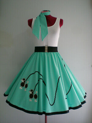 "ROCK N ROLL/ROCKABILLY  ""POODLE"" SKIRT-SCARF L-XL Pastel Green."