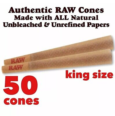 RAW Classic King Size Pre-Rolled Cones with Filter ( 50 packs) 100%AUTHENTIC