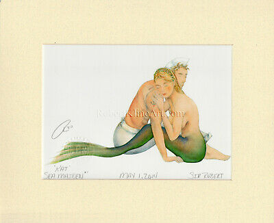 Mermaid and Sailor Matted Print Art Engagement Anniversary Gift Beach Home Decor
