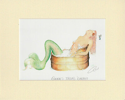 Mermaid in Old Copper Tub Matted Print Nautical Art Bathroom Laundry Home Decor