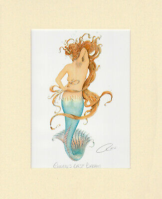 Mermaid Art Matted Print Robert Kline Fantasy Nautical Home Decor Ready to Frame