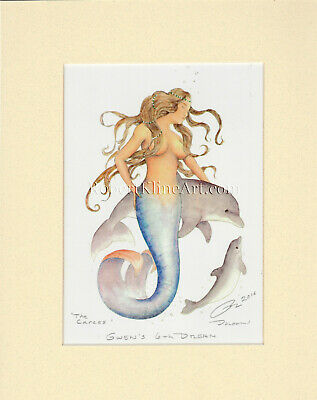 Mermaid and Dolphins Matted Print Nautical Art Beach House Decor by Robert Kline