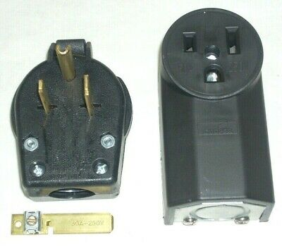 Cooper S42 Electrical Angle Plug & 1252 Power Outlet 50A 250V 3-Wire 2-Pole Set