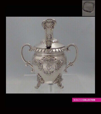 GORGEOUS ANTIQUE 1880s FRENCH STERLING SILVER MUSTARD POT & SPOON Regency st.