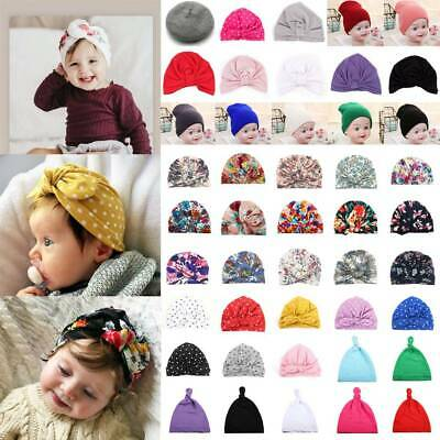 Baby Toddler Girls Kids Turban Knotted Bow Hat Cap Headband Hair Band Headwear