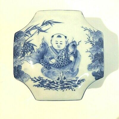 Canton porcelain box with lid blue and white handpainted in Thailand 3.5 in tall